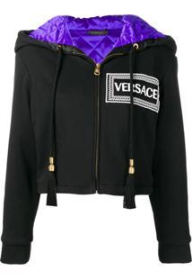 Versace Blusa De Moletom Cropped Com Logo De Seda - Preto