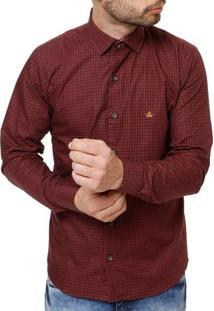 Camisa Manga Longa Masculina Bordô