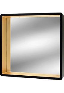 Espelho Preto E Dourado Asten 52X52Cm