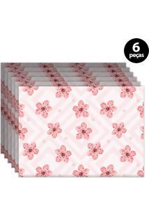 Jogo Americano Mdecore Floral 40X28Cm Rosa 6Pçs