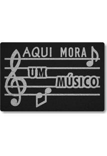 Tapete Capacho Aqui Mora Um Musico - Preto