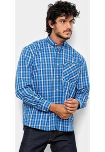 Camisa Xadrez Manga Longa Wrangler Masculina - Masculino-Azul+Marinho