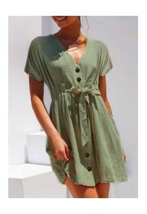 Vestido Feminino Comfort Com Laço Na Cintura - Verde Militar