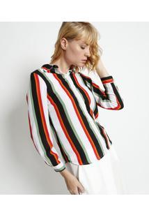 Camisa Listrada- Off White & Preta- Intensintens