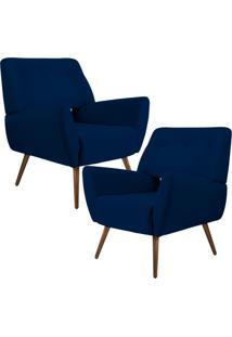 Kit 02 Poltronas Decorativas Pés Palito Sala De Estar Roma Veludo Azul Marinho - Gran Belo