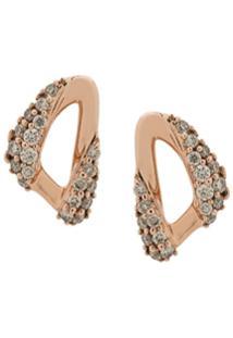 Astley Clarke Par De Brincos Em Ouro Rosê 14K' Com Diamante 'Vela' - Dourado