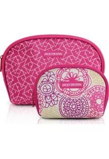 Kit Necessaire Com 2 Unidades Jacki Design Poliéster - Feminino-Pink cf96fdb9c9
