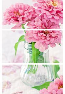 Quadro Decorativo Flores Estampado Rosa