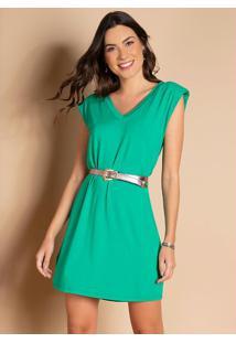 Vestido Verde Com Ombros Estruturados
