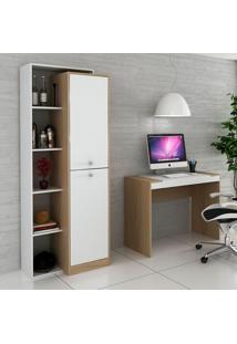 Escrivaninha E Estante Para Escritório-Ho-2954-Hecol - Avela / Branco