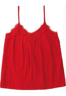Blusa Vermelho Plissada Com Renda