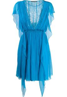 Alberta Ferretti Vestido De Seda Com Babados E Recorte De Renda Floral - Azul