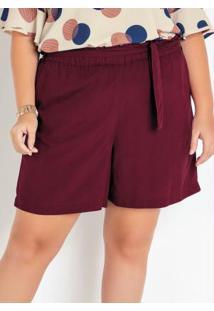 Shorts Plus Size Bordô Viscose Com Amarração