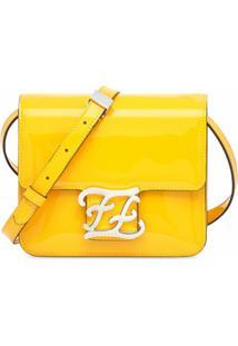 Fendi Bolsa Tiracolo Com Placa De Logo - Amarelo