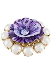 Dolce & Gabbana Floral Embellished Ring - Roxo