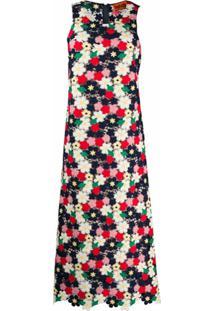 Colville Vestido Longo De Crochê Floral - Azul