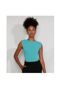 Body Muscle Tee Feminino Mindset Cavado Texturizado Com Lurex E Ombreiras Decote Redondo Verde Água