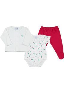 Pijama Longo Liso E Estampado Pena 3 Peças Ano Zero Off-White