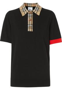 Burberry Vintage Check Trim Polo Shirt - Preto