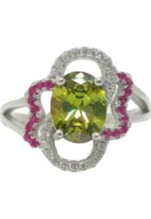 Anel Lolla925 Peridoto Pistache E Cristal Pink Plus Size Prata 925