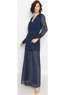 Vestido Longo Com Transparência- Azul Marinho- Aboutabout