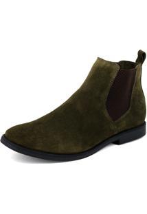 Botina Chelsea Boots Verde Militar Com Sola Preta Escrete