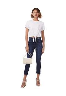 Calça Morena Rosa Slim Cropped Isadora Cós Alto Detalhe Tachas Jeans