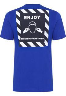 Camiseta Masculina Caution Loose - Azul