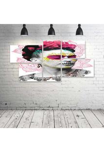 Quadro Decorativo - Frida-Skull-(2) - Composto De 5 Quadros - Multicolorido - Dafiti