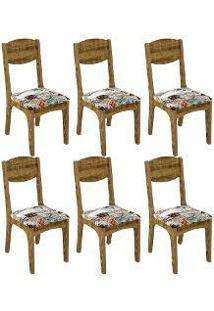 Cadeira Estofada 100 Mdf Ca12 6 Peças Rústico/Estampado - Dalla Costa