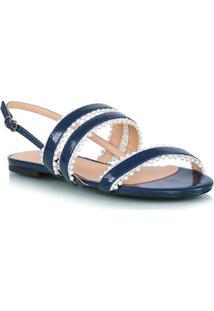 Sandália Rasteira Bico Redondo Azul Tiras Com Pérolas