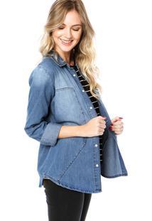 Camisa Jeans Colcci Estonada Azul
