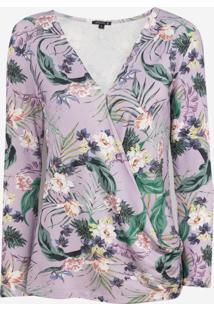 Blusa Dudalina Manga Longa Decote V Estampa Floral Feminina (Roxo Claro Estampado, G)