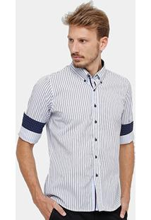 Camisa Social Blue Bay Listras Poá Masculina - Masculino