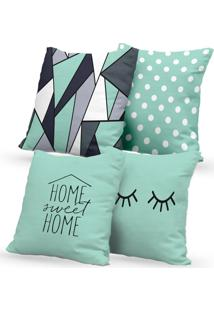 Kit 4 Capas De Almofadas Decorativas Own Home Sweet Home E Cílios 45X45 - Somente Capa