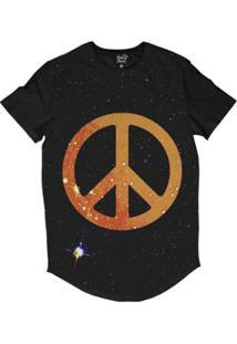 Camiseta Longline Long Beach Psicodélica Paz E Amor Sublimada Masculina - Masculino-Preto
