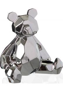 Escultura Decorativa Em Cerâmica Teddy 19X18Cm Prata