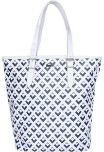Bolsa Texturizada Geométrica Com Tag - Branca & Azul Marlacoste