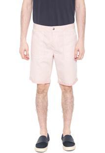 Bermuda Sarja Calvin Klein Jeans Reta Recortes Rosa