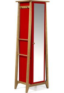 Armário Multiuso 1 Porta Stoka 981 Nogal/Vermelho - Maxima