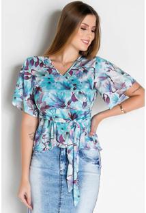 Blusa Transpassada Floral Moda Evangélica