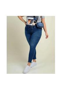 Calça Plus Size Feminina Jeans Jogger Barra Desfiada