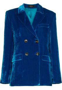 De La Vali Blazer Transpassado Aveludado 'Tiger Lily' - Azul