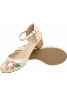 Sapato Boneca Retrô Dhl Feminino Bege - Kanui
