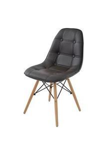 Cadeira Eames Eiffel Botone Marrom Base Madeira - 28350 Preto