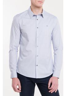 Camisa Slim Mg Longa Micro Xadrez Fio 60 - Marinho - 1