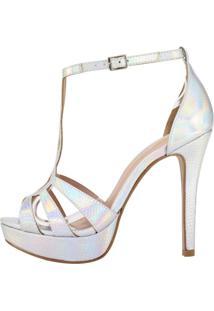 Sandália Meia Pata Week Shoes Premium Tiras Croco Prata