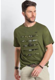 Camiseta Destroyed Verde Detalhe Camuflado