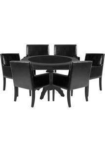 Mesa De Jogos Carteado Montreal Redonda Tampo Reversível Preto Com 6 Cadeiras Liverpool Corino Preto Liso - Gran Belo