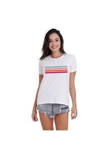 Camiseta Jay Jay Basica Faixas Branca Dtg